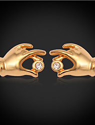 InStyle 18K Chunky Gold Plated Cute Hands Stud Rhinestone Earrings High Quality