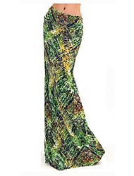 Women's Print Multi-color Skirts , Vintage / Sexy / Beach / Casual / Maxi Maxi