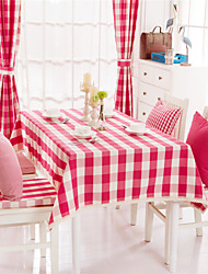 Red Plaid Lacy Design  Jacquard  Tablecloths Fabric Tea Tablecloth