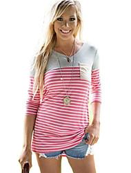 Mulheres Camiseta Decote Redondo Manga Longa Bolso Poliéster Mulheres