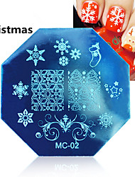 1PCS Christmas Nail Art Stamping Image Template Plates With Stamp