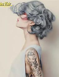 moda ombre plata peluca frente gris cordón de la onda cuerpo sin cola largas pelucas de cabello natural de calor negro / gris resistentes