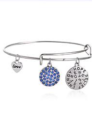 Hope&Believe&Love Expandable Wire Bangle Bracelet (Internal Diameter :65mm)