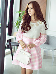 Pink Doll® Women's Geometric Patchwork  Casual  Party Round Neck 3D Flowers Long Sleeve Pink Dress