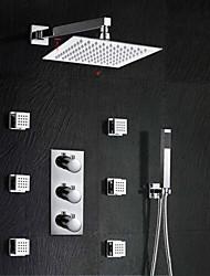 "Bathroom Shower With Luxury 8 "" Shower Head (Wall Mount) Rainfall Thermostatic 6 Massage Jets Spray Body Shower"