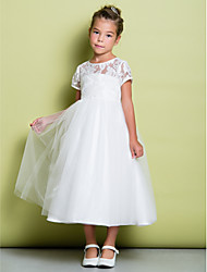 Lanting Bride ® A-line Tea-length Flower Girl Dress - Lace / Tulle Short Sleeve Jewel with Lace