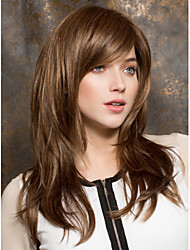High Quality  Brown  Syntheic Wigs Extensions Medium Straight Hair Wig