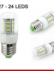 1 pc E26 / E27 5W 24smd5730 400lm bianco caldo / bianco naturale lampadine mais decorativi 110V / 220V