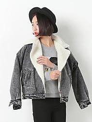 Women's Solid Black Cotton / Denim Jacket , Casual