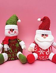 """25cm / 10 """"2pcs / set Weihnachtsdekoration Geschenk Weihnachtsmann Schneemann-Puppe-Plüschspielzeug Geschenk des neuen Jahres"""