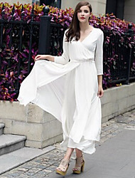 Women's Solid Color White Dresses , Casual V-Neck Long Sleeve