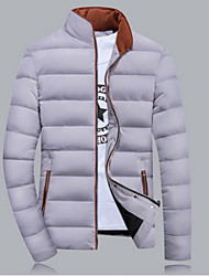 Rita Men's Stand Coats & Jackets , Cotton Blend Long Sleeve Casual Pocket Fall