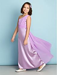 Ankle-length Chiffon / Charmeuse Junior Bridesmaid Dress - Lilac A-line One Shoulder