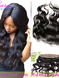 "10""-20"" Natural Black Body Wave Human Hair Closure Medium Brown French Lace 75g-80g gram Cap Size"