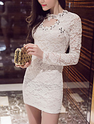Women's Solid / Lace White / Black Dress , Vintage / Sexy / Lace Crew Neck Long Sleeve