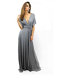 Women's Party/Cocktail Sexy Skater Dress,Solid Deep V Maxi Short Sleeve Gray / Green Summer