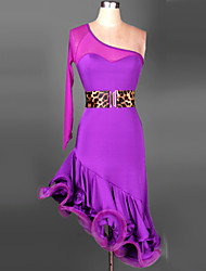 Dança Latina Roupa Mulheres Actuação Treino Náilon Chinês Elastano Franzido 2 Peças Manga Comprida Cinto Vestidos S-4XL:88-95