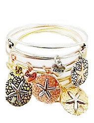 4 PCS With Charms Of Starfish Expandable Wire Bangle Bracelet (Internal Diameter :65mm)