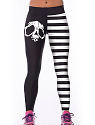 Women's White Stripe Skull Digital Print Elastic Sports Yoga Pants