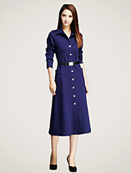 Women's Solid Red / Black / Navy Blue Dress , Sexy / Casual / Work Shirt Collar Long Sleeve