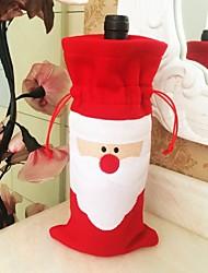 de tres navidad de santa claus cubierta de la botella de vino de algodón