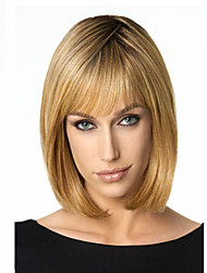 Capless High Quality Synthetic Hair Light Blonde Straight Hair Wig Full Bang