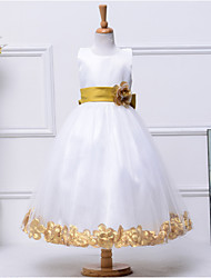 A-Line Tea Length Flower Girl Dress - Cotton Polyester Tulle Sleeveless Jewel Neck with Flower by YDN