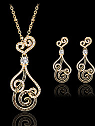 May Polly  European and American fashion gold wire loop Pendant Necklace Earrings Set