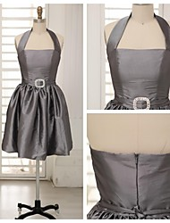 Knee-length Taffeta Bridesmaid Dress - Silver A-line Halter
