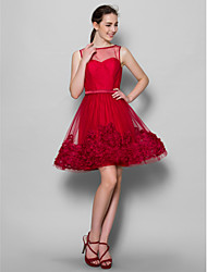 Knee-length Tulle Bridesmaid Dress A-line Bateau with Flower(s)