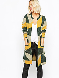 Large size Women's Geometric Multi-color Coats & Jackets , Casual Asymmetrical Long Sleeve