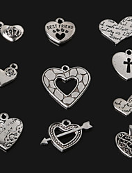 Charms / Pendants Metal Heart Shape As Picture 4-21pcs