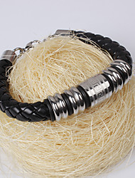 Men's Great Wall Pattern Leather Bracelet (Black)
