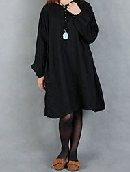 Women's Solid Black Dress , Casual/Plus Sizes Loose Slim Round Neck Long Sleeve (Cotton/Linen)