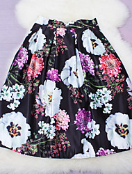 Fashion New Sweet Printing Elastic Waist Floral Knee-length Skirts