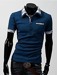 Men's Short Sleeve T-Shirt , Cotton Blend Casual / Work / Formal / Sport / Plus Sizes Pure