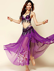 Belly Dance Outfits Women's Performance Chiffon/ Tulle Beading / Paillettes 3 Pcs(Bra&Skirt&Waist belt)