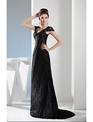Formal Evening Dress A-line V-neck Sweep / Brush Train Lace with Beading / Lace