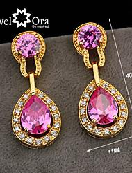 Wholesale Women Jewelry Drop Earrings Crystal Vivid Pink Cz Amethyst Crystal Earrings