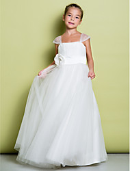 A-line Floor-length Flower Girl Dress - Tulle Sleeveless Straps with Draping / Flower(s)