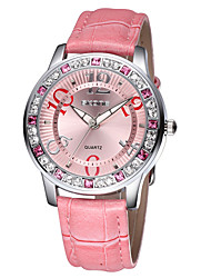 Skone® Women's Luminous Hands Big Number Rhinestone Case PU Leather Strap Watches Cool Watches Unique Watches