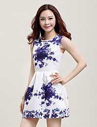 Fashion Chinese Style Blue And White Porcelain Small Fresh Slim Sleeveless Printing Vest Dress