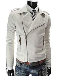 Autumn Male Leather Clothing  Oblique Zipper Motorcycle PU Turn-down Collar Leather Jacket Slim Outerwear Short
