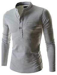 Herren T-shirt-Einfarbig Freizeit Baumwollmischung Lang-Schwarz / Blau / Rot / Weiß / Grau