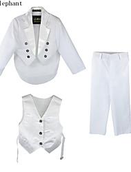 3pcs roupa do bebê ternos de casamento meninos miúdo partido personalizados outfits conjuntos para 0-5 anos A54 branco