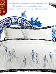 New Chinese Silk Blanket Comforter Bedding Set Quilt White Silk  Four Seasons Quilts