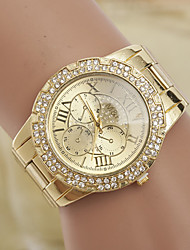 L.WEST Fashion Diamonds Roman Dial Steel Band Quartz Watch
