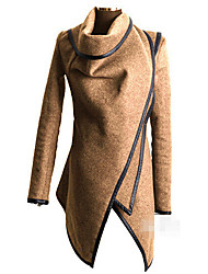 YiFuDi Women's Solid Color Blue / Green / Gray Coats & Jackets , Casual / Work Turtle Neck Long Sleeve