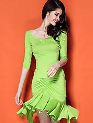 Latin Dance Dresses Women's Performance Spandex / Polyester / Milk Fiber Draped 1 Piece Green / Red / Sky blue