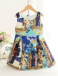 Girl's Fashion Simplicity  Cotton Blend   Fall/Spring   Flowers Printing Jumper Skirt Princess Dress